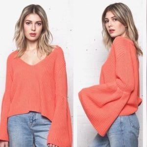 Free People Orange Pink Bell Sleeve Knit Sweater